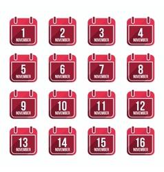 November flat calendar icons with long shadow vector image