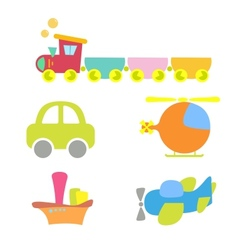 Cartoon baby transport set isolated on white vector