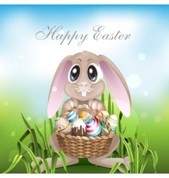 The easter bunny with a basket full vector