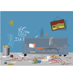 Dirty messy room vector image