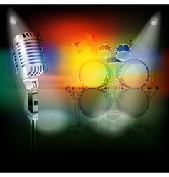 Abstract background with retro microphone and drum vector