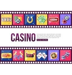 Film strips and set of colorful modern gambling vector