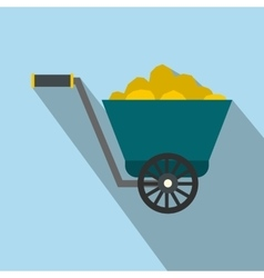 Trolley with gold ore flat icon vector