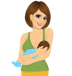 young caucasian mother breastfeeding her baby vector image