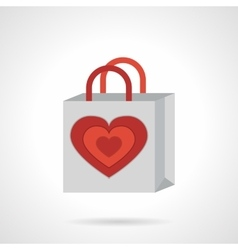 Paper bag with heart flat icon vector