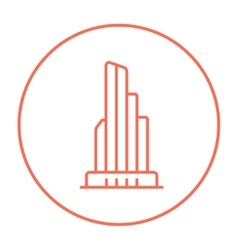 Skyscraper office building line icon vector image