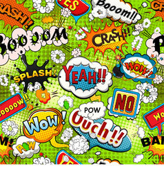 Bright comics speech bubbles on a green background vector image