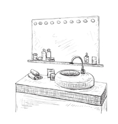 Bathroom interior sketch washbasin and mirror vector