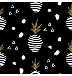 Glitter black scandinavian pineapple ornament vector
