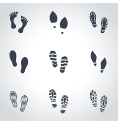 Black shoes imprints icon set vector