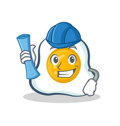 Architect fried egg character cartoon vector