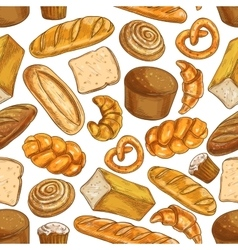 Bread pattern Bakery seamless sketch icons vector image vector image