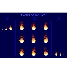 Bright fire flame animation set vector