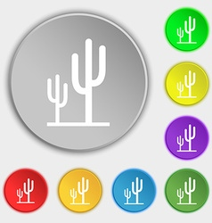 Cactus icon sign symbol on eight flat buttons vector
