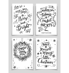 Christmas calligraphy greeting cards set vector