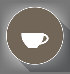 cup sign white icon on brown circle with vector image