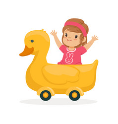 cute little girl riding on yellow duck kid have a vector image vector image