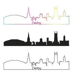 Derby skyline linear style with rainbow vector