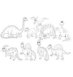 different types of dinosaurs vector image vector image