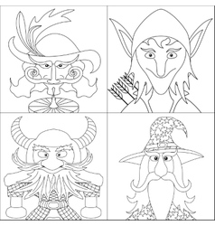 Fantasy heroes set avatar contour vector image vector image