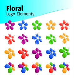 floral logo elements vector image
