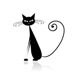 Funny black cat for your design vector