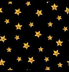 gold glitter stars seamless pattern on vector image