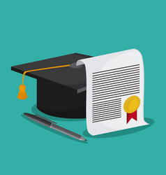 Graduation cap diploma pen icon graphic vector