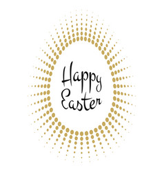 happy easter lettering with gold halftone egg vector image vector image