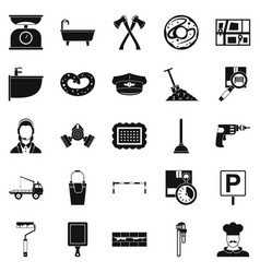 Home care icons set simple style vector
