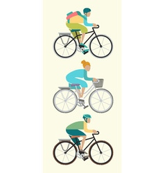 Male and female are riding bike isoleted vector image