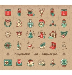 Mega Christmas icons set Winter holiday symbols vector image