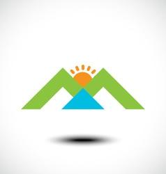 Mountain sun and river vector