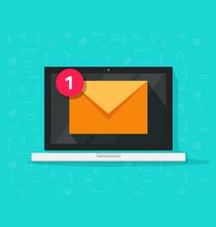 new email on laptop flat vector image vector image