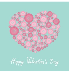 Pink heart made from buttons Love card Flat design vector image vector image