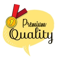 Premium quality text on speech bubble with gold vector