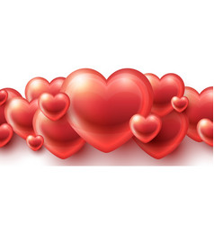 Red hearts love background vector