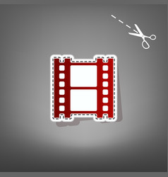 Reel of film sign red icon with for vector