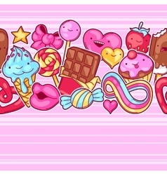 Seamless kawaii pattern with sweets and candies vector