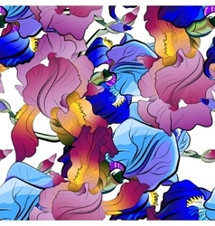 Seamless pattern of irises in blue purple vector