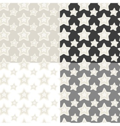 Seamless patterns set of stars with hand vector image vector image