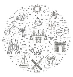 Spain outlined icon set vector