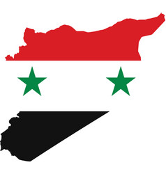 syria map with flag inside vector image vector image
