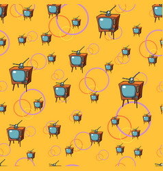 tv retro seamless pattern vector image