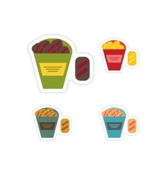 Set of paper stickers on a white background snack vector