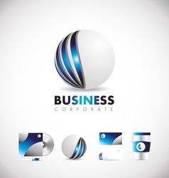 Corporate sphere 3d blue logo icon design vector