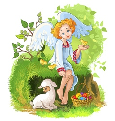Easter holiday background with cute angel girl vector