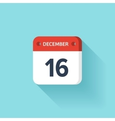 December 16 isometric calendar icon with shadow vector