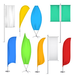 Advertisement flags and banners icon set vector
