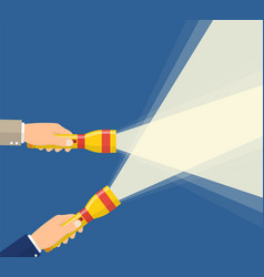 Hands holding flashlight vector